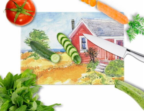 Old Red Cottage House at the lake or Beach Glass Cutting Board Large Perspective: back