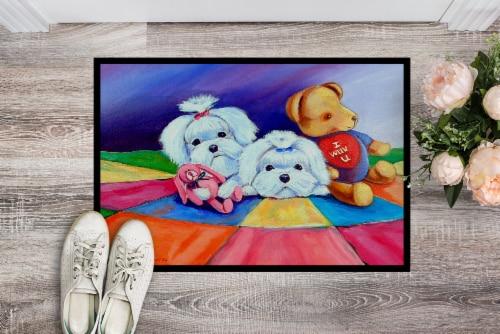 Carolines Treasures  7515MAT Maltese Indoor Outdoor Mat 18x27 Doormat Perspective: back