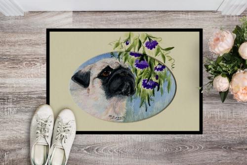 Carolines Treasures  SS8064MAT Pug Indoor Outdoor Mat 18x27 Doormat Perspective: back