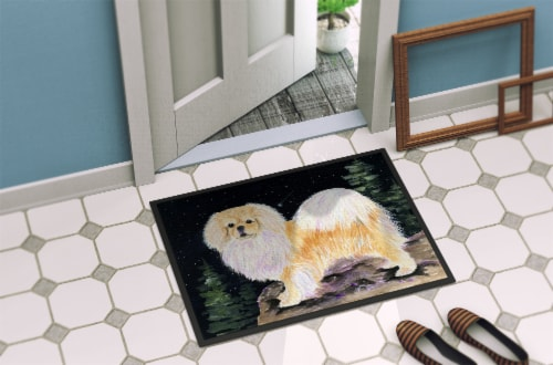 Starry Night Tibetan Spaniel Indoor Outdoor Mat 18x27 Doormat Perspective: back