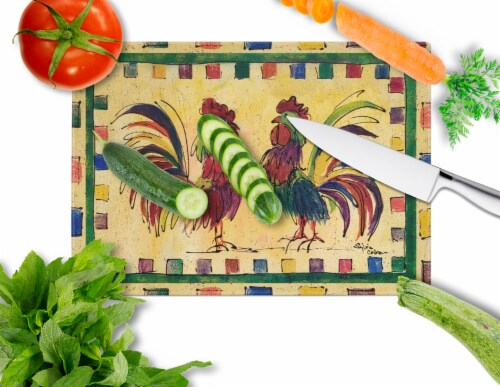 Carolines Treasures  8062LCB Rooster  Glass Cutting Board Large Perspective: back