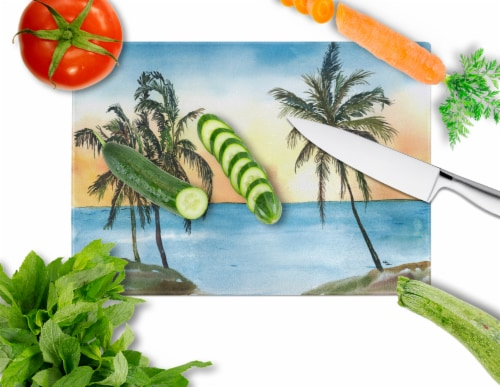 Carolines Treasures  8551LCB Palm Tree  Glass Cutting Board Large Perspective: back