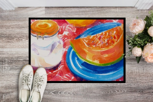 Carolines Treasures  6036MAT A Slice of Cantelope  Indoor or Outdoor Mat 18x27 D Perspective: back