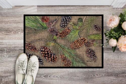 Carolines Treasures  8735JMAT Pine Cones  Indoor or Outdoor Mat 24x36 Doormat Perspective: back