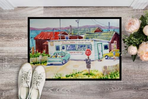 Seafood Shack for fresh shrimp Indoor or Outdoor Mat 24x36 Doormat Perspective: back