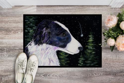 Starry Night Border Collie Indoor or Outdoor Mat 24x36 Doormat Perspective: back
