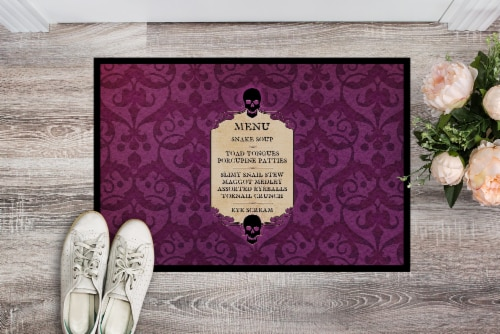 Goulish Menu including Eye Screen Snake soup Halloween Mat Doormat Perspective: back