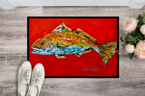 Fish - Red Fish Red Head Indoor or Outdoor Mat 24x36 Doormat Perspective: back