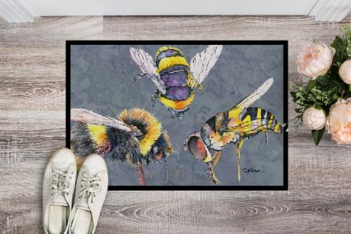 Carolines Treasures  8879JMAT Bee Bees Times Three Indoor or Outdoor Mat 24x36 D Perspective: back