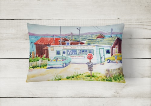 Seafood Shack for fresh shrimp Decorative   Canvas Fabric Pillow Perspective: back