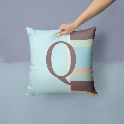 Letter Q Initial Monogram - Blue Stripes Decorative   Canvas Fabric Pillow Perspective: back