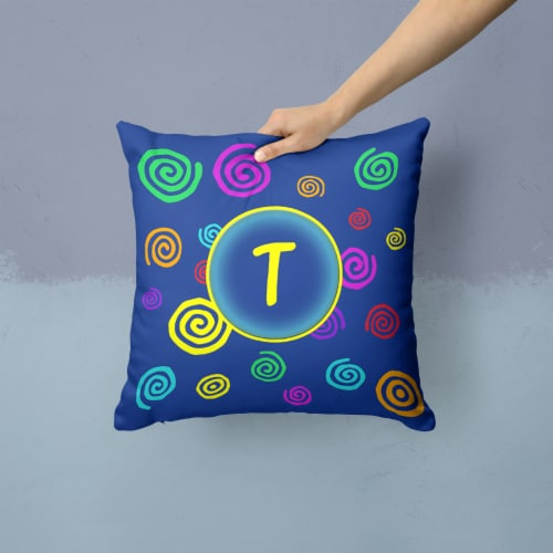 Letter T Initial Monogram - Blue Swirls Decorative   Canvas Fabric Pillow Perspective: back