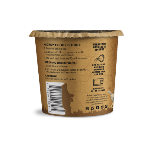 Kodiak Cakes Peanut Butter Chocolate Chip Oatmeal Power Cup Perspective: back