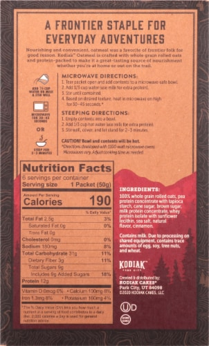 Kodiak Cakes Protein-Packed Cinnamon Oatmeal Packets Perspective: back