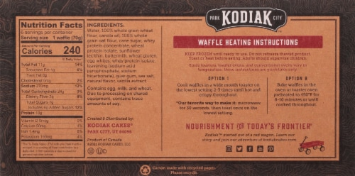 Kodiak Cakes Buttermilk & Vanilla Thick and Fluffy Power Waffles Perspective: back