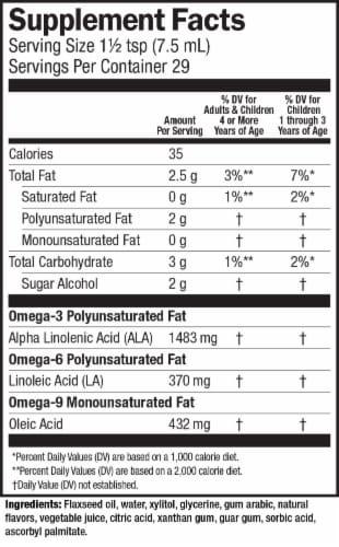 Barlean's Omega Pals Sensantional Straw-nana Flax Oil Dietary Supplement Perspective: back