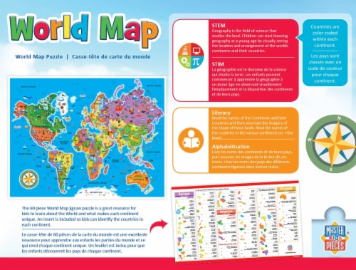 Educational World Map 60 Piece Jigsaw Puzzle Perspective: back