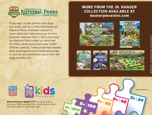 Wildlife of the National Parks 100 Piece Jigsaw Puzzle Perspective: back