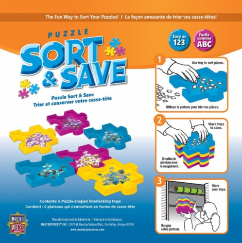 MasterPieces Sort & Save Stackable Jigsaw Puzzle Trays | Set of 6 Perspective: back
