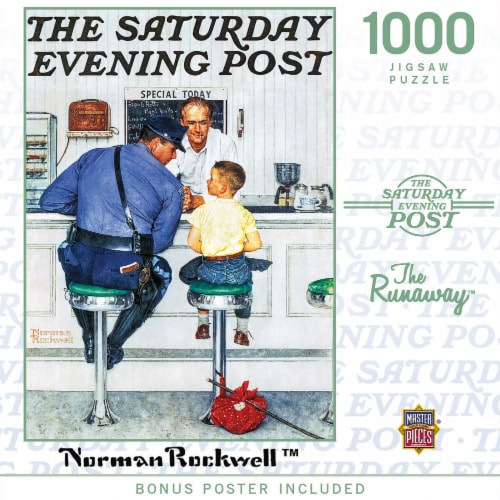 MasterPieces Saturday Evening Post The Runaway - 1000 Piece Jigsaw Puzzle by Norman Rockwell Perspective: back