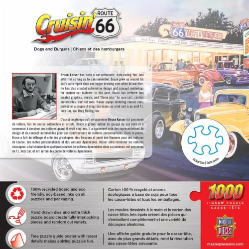 Masterpieces Puzzle Cruisin' Route 66 1000 pc Jigsaw Puzzle Perspective: back