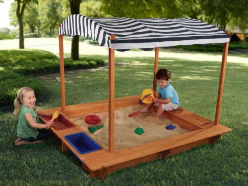 KidKraft Outdoor Children's Sandbox with Canopy - Navy & White Perspective: back
