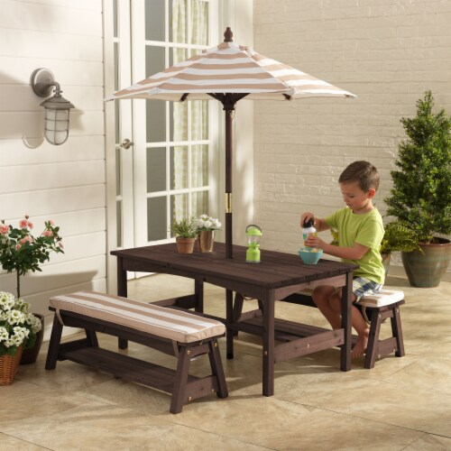 KidKraft Outdoor Children's Table & Bench Set w/ Cushions & Umbrella-Oatmeal & White Stripes Perspective: back