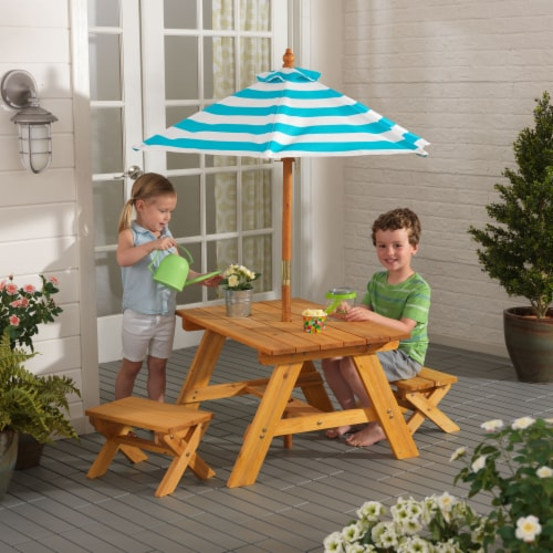 KidKraft Outdoor Children's Table & Bench Set with Umbrella - Turquoise & White Perspective: back