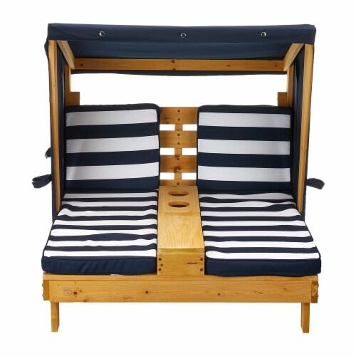 KidKraft Children's Double Chaise Lounge with Cup Holders - Honey & Navy Perspective: back