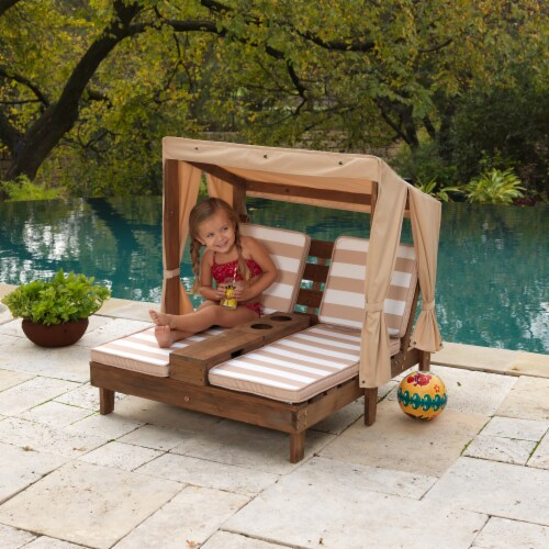 KidKraft Children's Double Chaise Lounge with Cup Holders - Espresso & Oatmeal Perspective: back