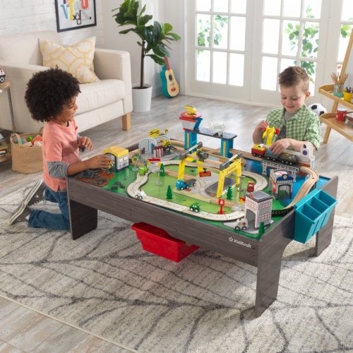 KidKraft My Own City Vehicle and Activity Table with with EZ Kraft Assembly™ Perspective: back