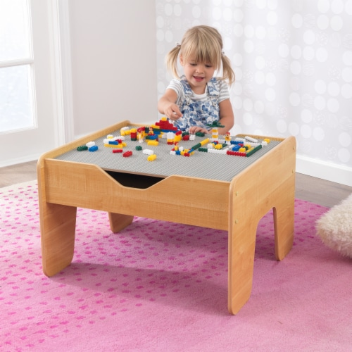 KidKraft Activity Table with Board - Gray & Natural Perspective: back