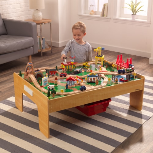 KidKraft Adventure Town Railway Train Set & Table with EZ Kraft Assembly™ Perspective: back