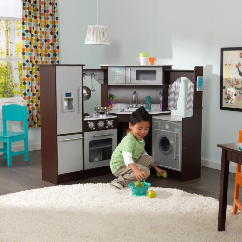 KidKraft Ultimate Corner Play Kitchen with Lights & Sounds - Espresso Perspective: back