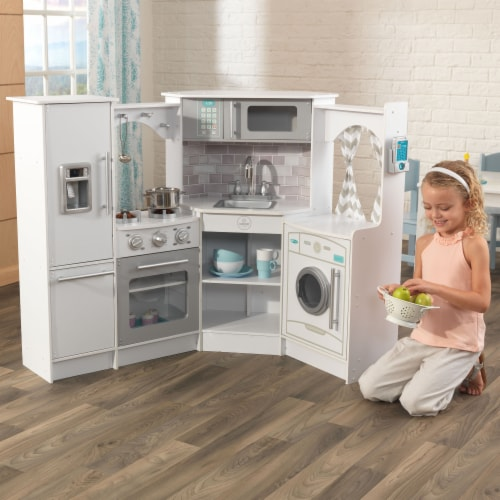 KidKraft Ultimate Corner Play Kitchen with Lights & Sounds - White Perspective: back