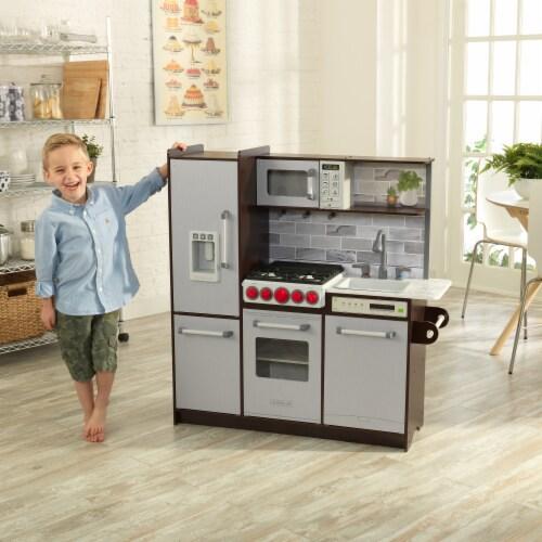 KidKraft Uptown Elite Espresso Play Kitchen with EZ Kraft Assembly™ Perspective: back