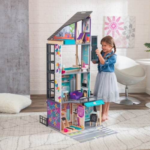 KidKraft Bianca City Life Dollhouse with EZ Kraft Assembly™ Perspective: back