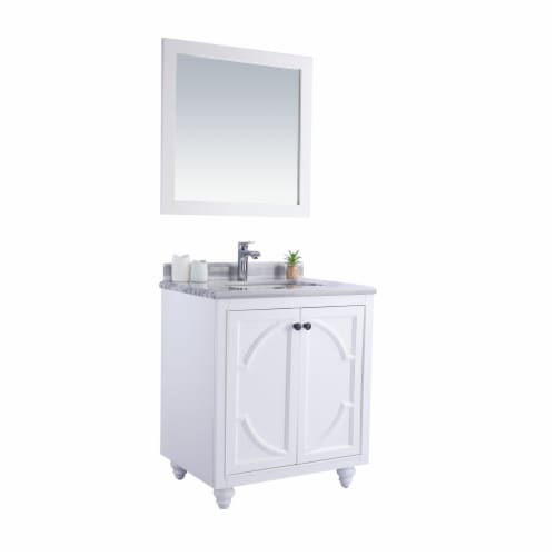 Odyssey - 30 - White Cabinet + White Stripes Marble Countertop Perspective: back