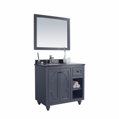 Odyssey - 36 - Maple Grey Cabinet + Black Wood Marble Countertop Perspective: back