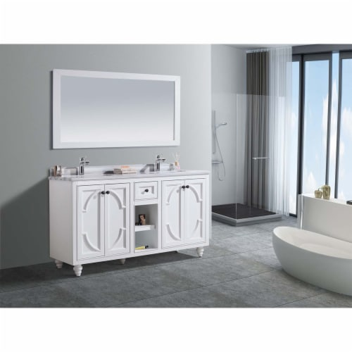 Odyssey - 60 - White Cabinet + White Stripes Marble Countertop Perspective: back