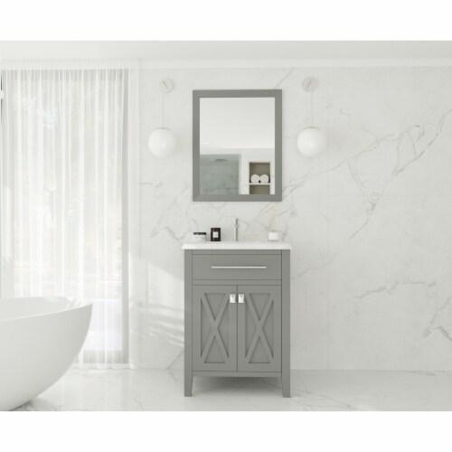 Wimbledon - 24 - Grey Cabinet + White Carrara Marble Countertop Perspective: back