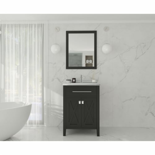 Wimbledon - 24 - Espresso Cabinet + White Stripes Marble Countertop Perspective: back