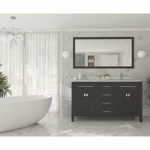 Wimbledon - 60 - Espresso Cabinet + White Stripes Marble Countertop Perspective: back