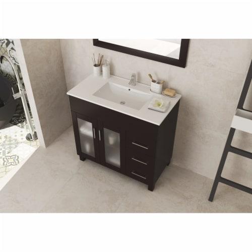 Nova 36 - Brown Cabinet + Ceramic Basin Countertop Perspective: back