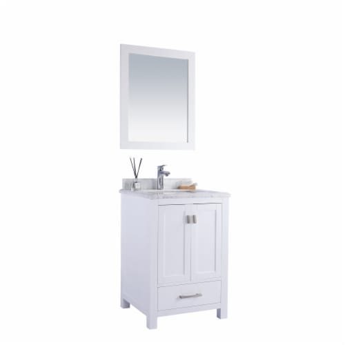 Wilson 24 - White Cabinet + White Carrara Marble Countertop Perspective: back