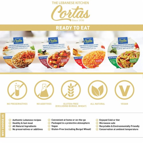 Cortas - Plant Based Ready to Eat Meals (4 in 1 PACK), (Variety Combo), All Natural, Vegan Perspective: back