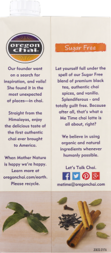 Oregon Chai Sugar Free Latte Black Tea Concentrate Perspective: back