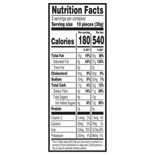 Green & Black's Organic 85% Dark Chocolate Bar Perspective: back