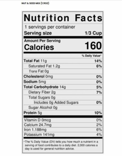 Vegan Raw Nut & Seed Mix 1.9oz |10 Ct. Perspective: back
