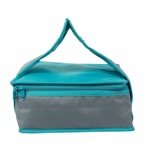 Insulated Rectangle Thermal Casserole Dish Carrier, Teal and Grey, 16 x 10 x 4 inches Perspective: back